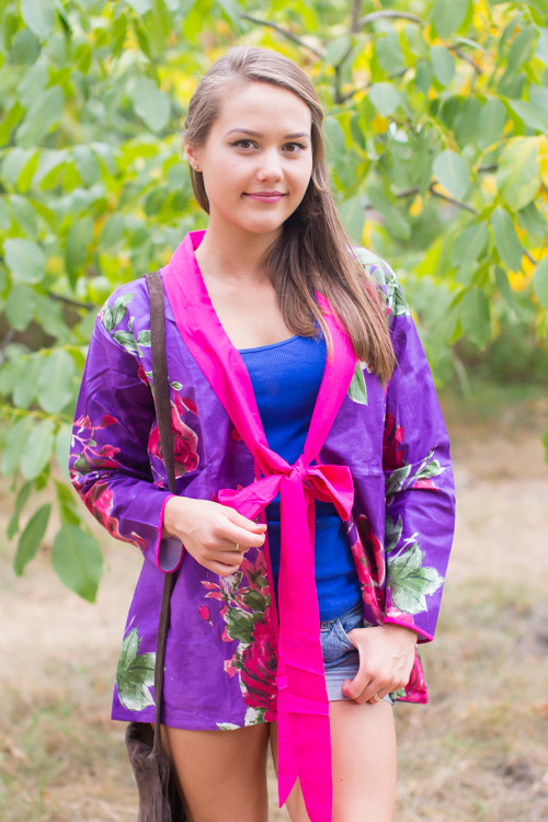 """""""Bow and Me"""" Kimono jacket in Large Fuchsia Floral Blossom pattern"""