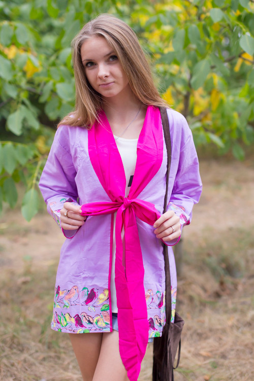 """Bow and Me"" Kimono jacket in Little Chirpies pattern"