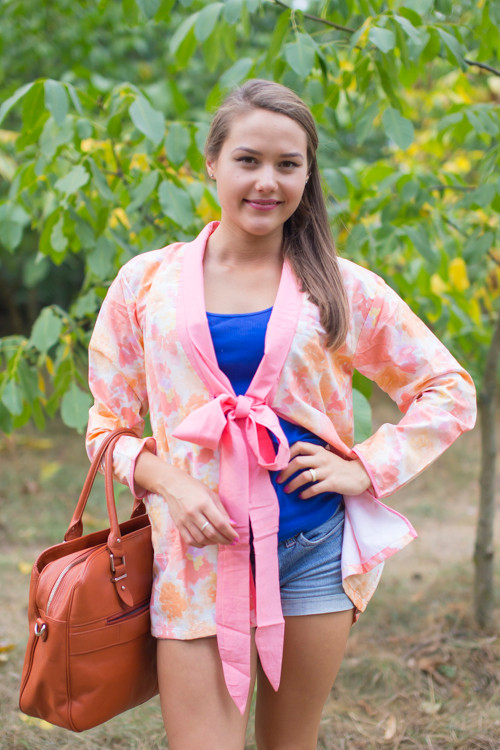 """Bow and Me"" Kimono jacket in Ombre Fading Leaves pattern"