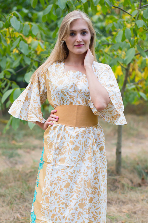 """Beauty, Belt and Beyond"" kaftan in Falling Leaves pattern"