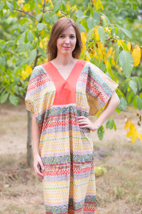 """Flowing River"" kaftan in Abstract Geometric pattern"