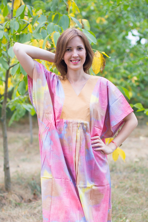 """Flowing River"" kaftan in Batik Watercolor pattern"