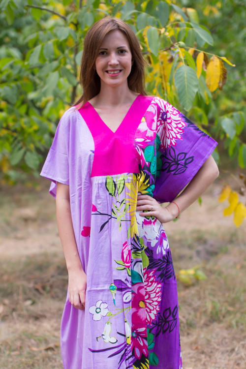 """Flowing River"" kaftan in Jungle of Flowers pattern"