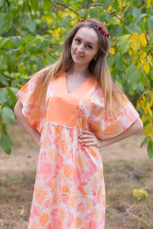 """Flowing River"" kaftan in Ombre Fading Leaves pattern"