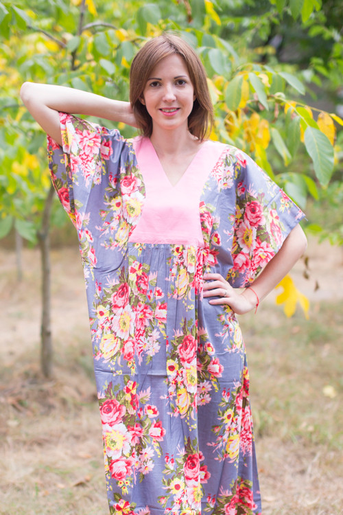 """Flowing River"" kaftan in Rosy Red Posy pattern"