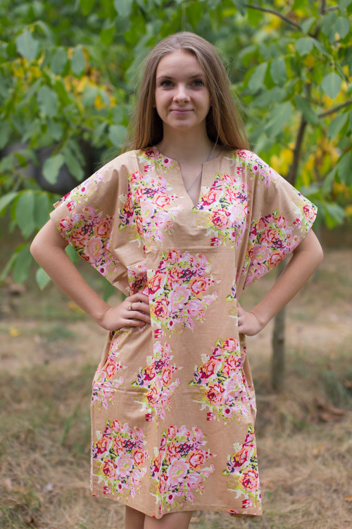 """Sunshine"" Tunic Dress kaftan in Floral Posy pattern"