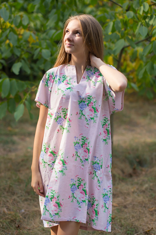 """Sunshine"" Tunic Dress kaftan in Pink Peonies pattern"