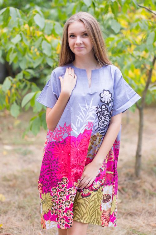 """Sunshine"" Tunic Dress kaftan in Vibrant Foliage pattern"