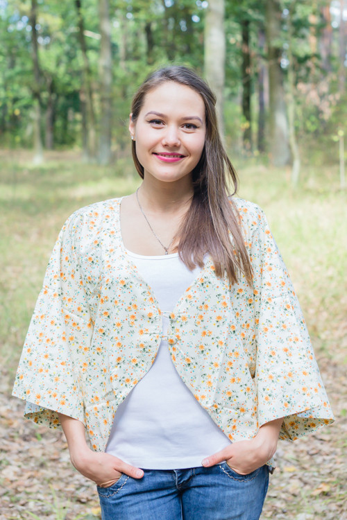 """Fly towards Glory"" Kimono jacket in Starry Florals pattern"