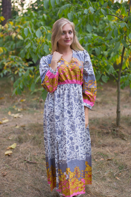 """Shape Me Pretty"" kaftan in Falling Leaves pattern"