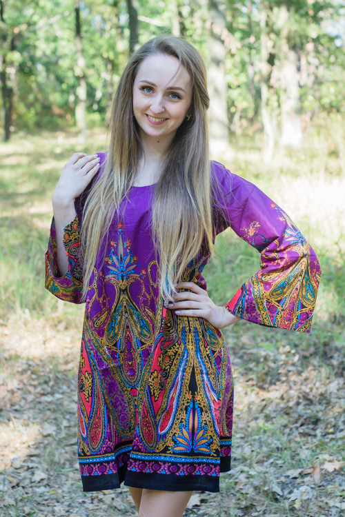 """Bella Tunic"" kaftan dress in Cheerful Paisleys pattern"