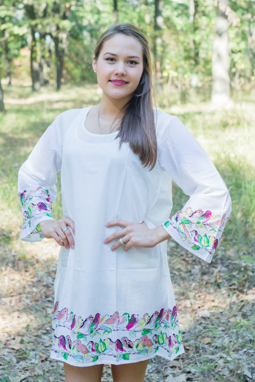 """Bella Tunic"" kaftan dress in Little Chirpies pattern"