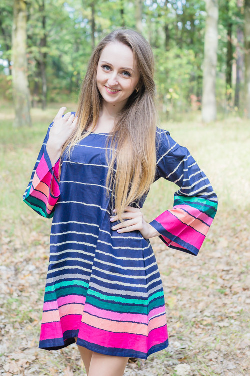 """Bella Tunic"" kaftan dress in Multicolored Stripes pattern"