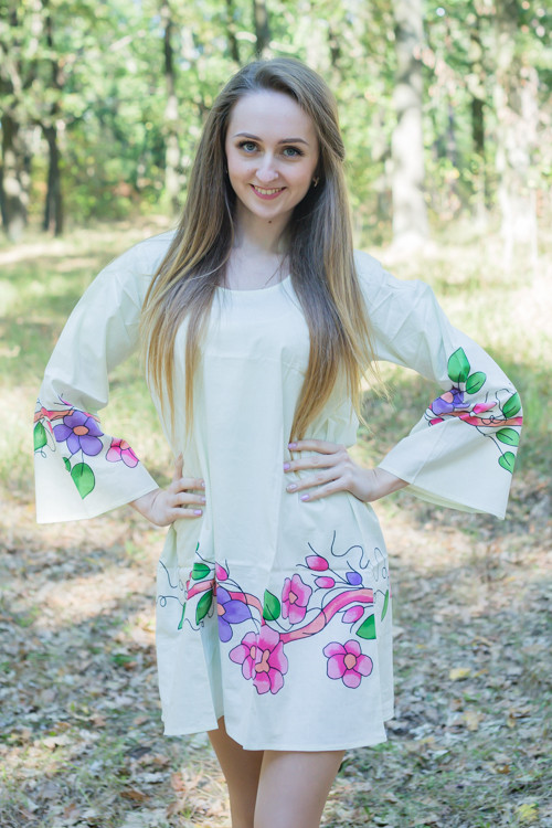 """Bella Tunic"" kaftan dress in Swirly Floral Vine pattern"