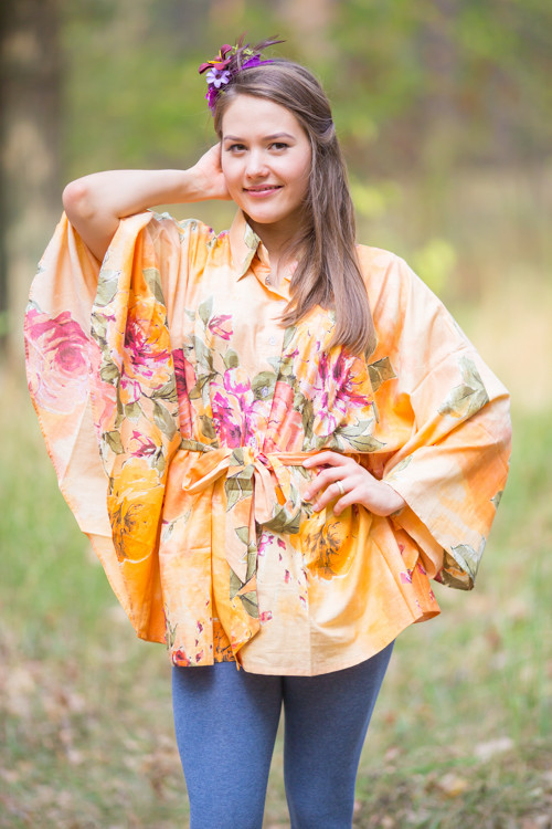 """Oriental Delight"" kaftan Top in Large Floral Blossom pattern"