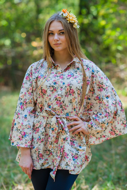 """Oriental Delight"" kaftan Top in Vintage Chic Floral pattern"