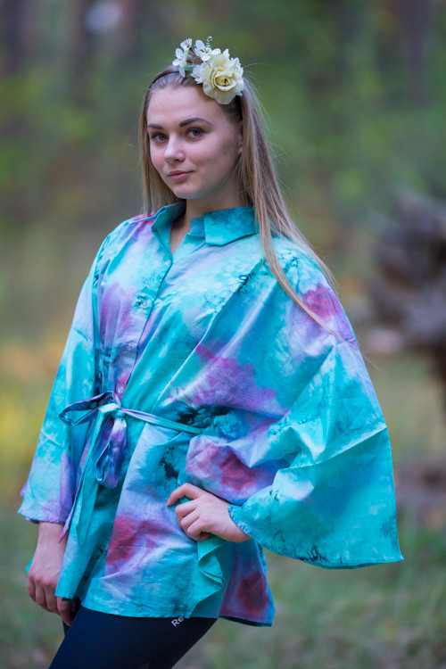 """Oriental Delight"" kaftan Top in Watercolor Splash pattern"