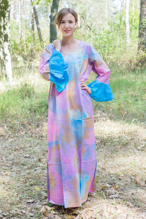 """Frill lovers"" kaftan in Batik Watercolor pattern"