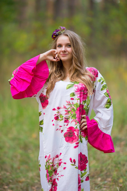 """""""Frill lovers"""" kaftan in Large Fuchsia Floral Blossom pattern"""