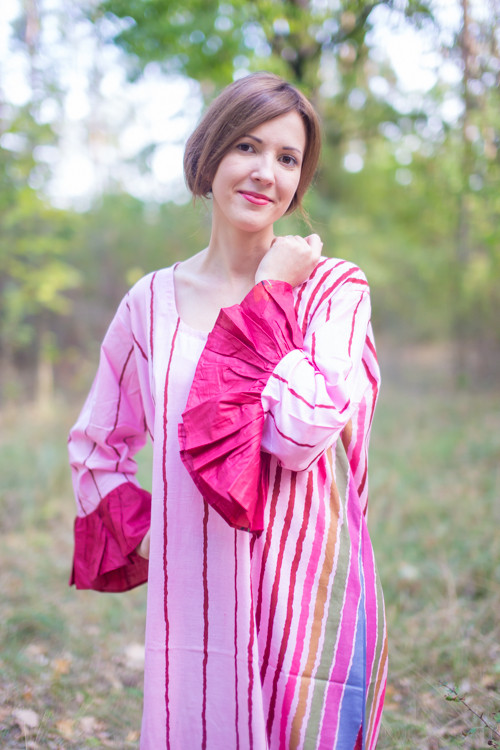 """Frill lovers"" kaftan in Multicolored Stripes  pattern"