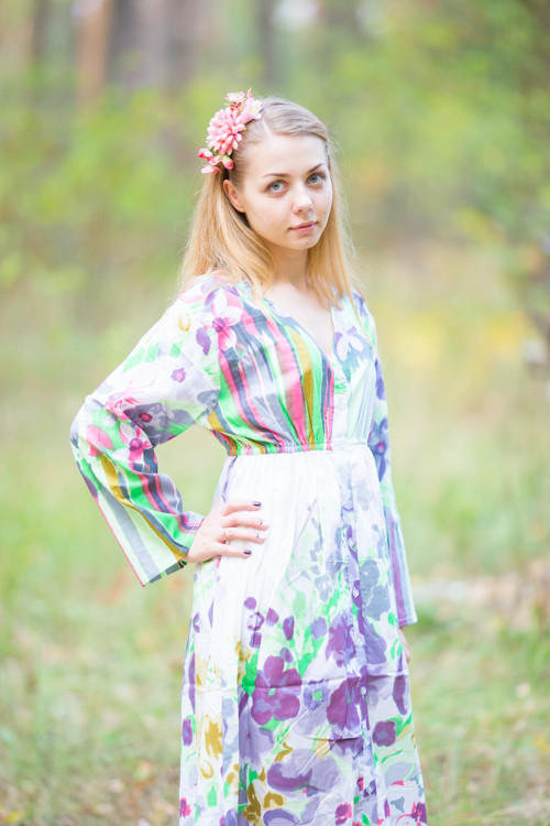 """""""Button me down"""" kaftan in Floral Watercolor Painting pattern"""