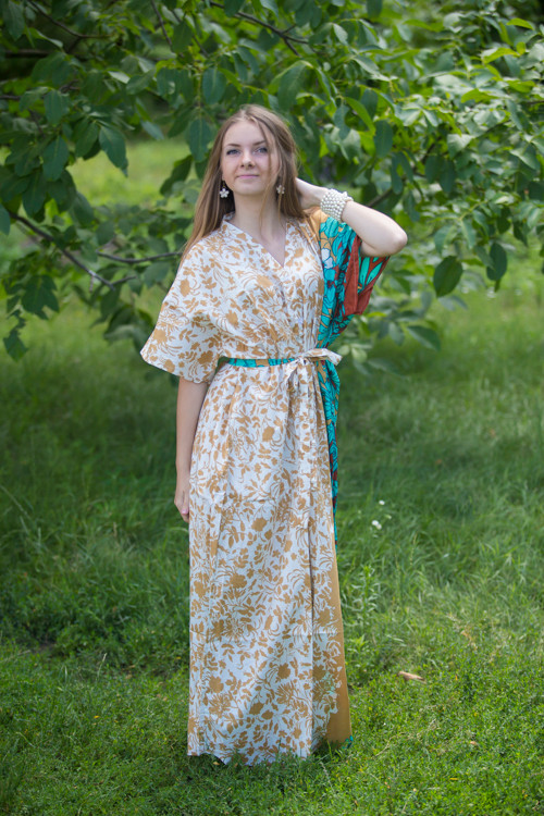 """Best of both the worlds"" kaftan in Falling Leaves pattern"