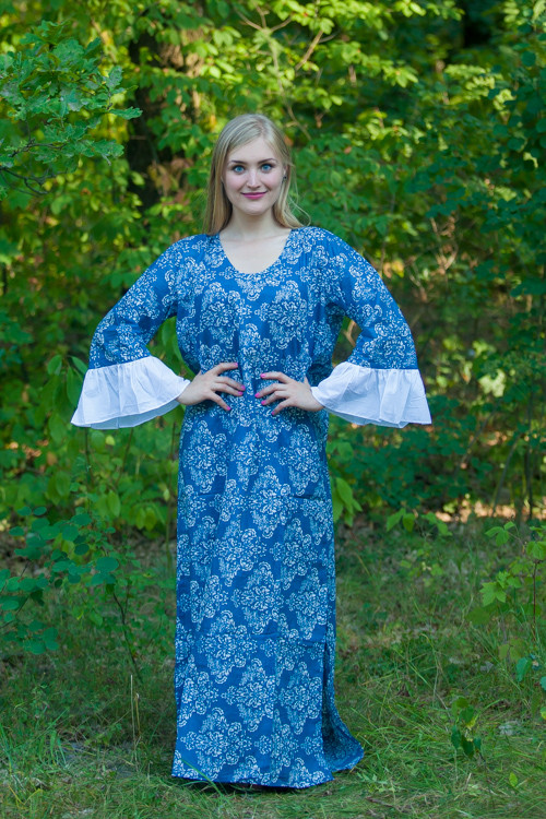 """Frill lovers"" kaftan in Damask pattern"