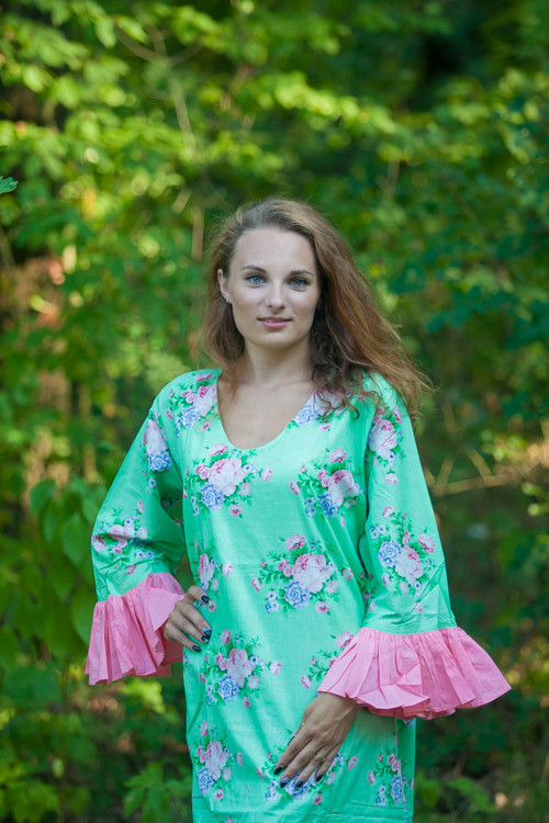 """Frill lovers"" kaftan in Pink Peonies pattern"