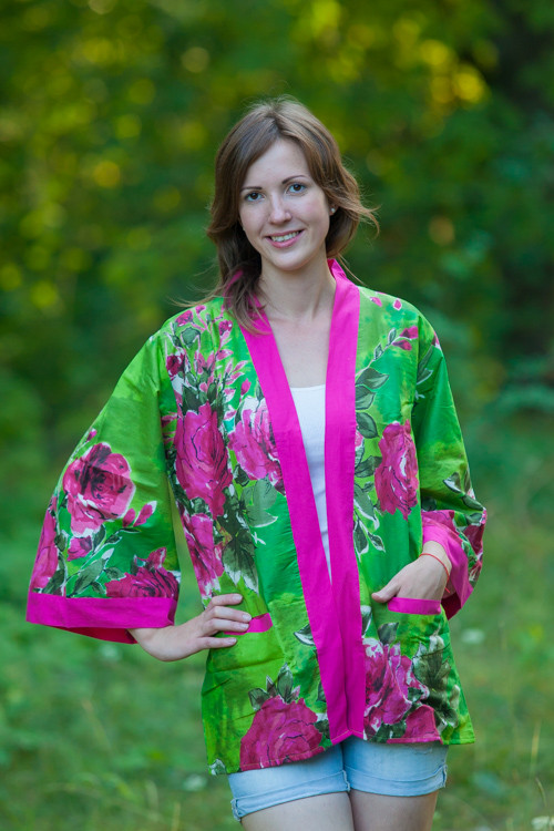 """Street Style"" Kimono jacket in Large Fuchsia Floral Blossom pattern"