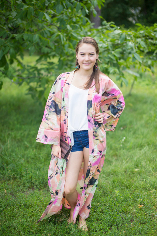 """Boho-Chic"" Kimono jacket in Flamingo Watercolor pattern"