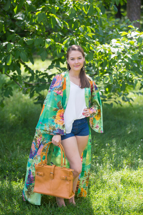 """""""Boho-Chic"""" Kimono jacket in Large Floral Blossom pattern"""