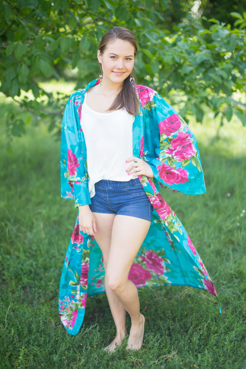 """Boho-Chic"" Kimono jacket in Large Fuchsia Floral Blossom pattern"
