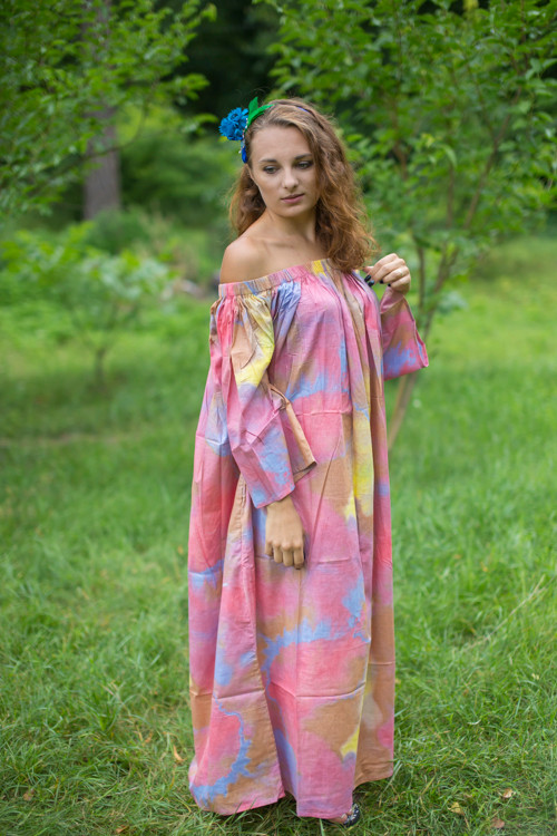 """Serene Strapless"" kaftan in Batik Watercolor pattern"