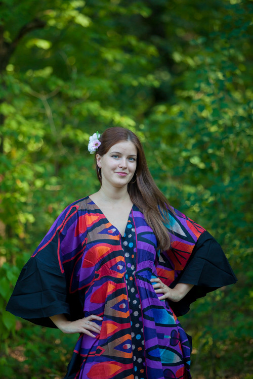 """Ballerina"" kaftan in Glowing Flame pattern"