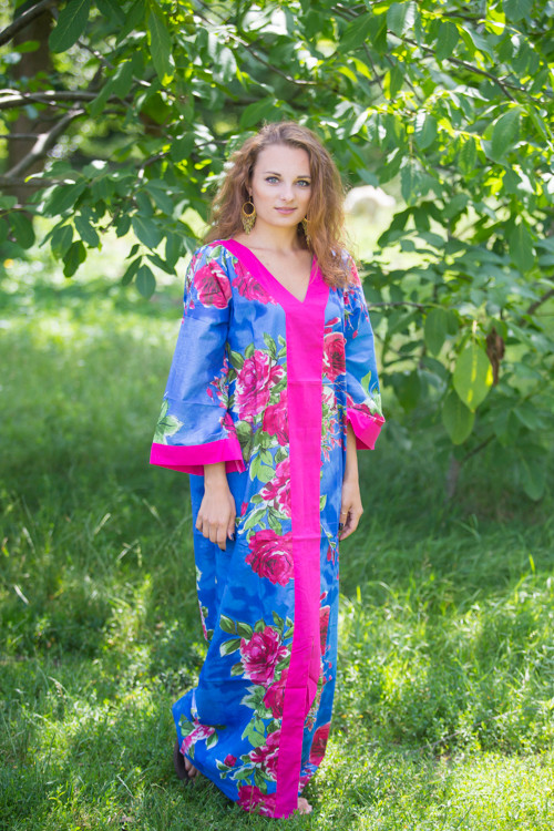 """""""The Glow Within"""" kaftan in Large Fuchsia Floral Blossom pattern"""