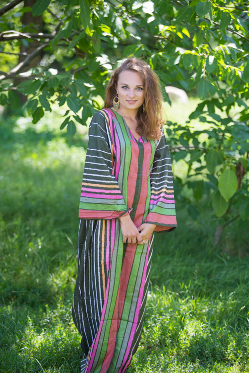 """""""The Glow Within"""" kaftan in Multicolored Stripes pattern"""