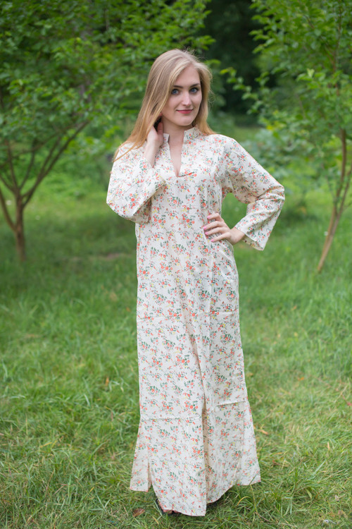 """Mandarin On My Mind"" kaftan in Tiny Blossoms pattern"