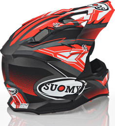 Suomy Carbon Alpha Waves Matte Red Silver Helmet