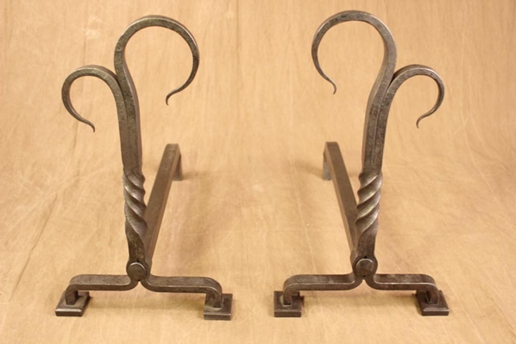wrought iron twisted juniper andirons
