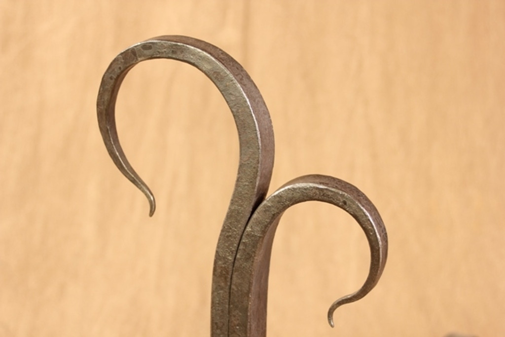 wrought iron twisted juniper andirons - detail