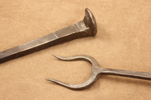 wrought iron railroad spike bbq fork - details
