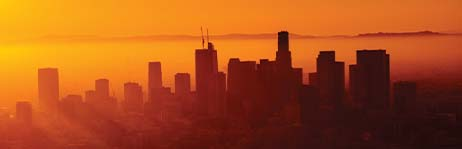 Orange-colored sunset over Los Angeles