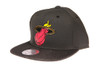 Miami Heat Gloss Gold Logo Woven Brim Mitchell & Ness NBA Black Snapback Hat