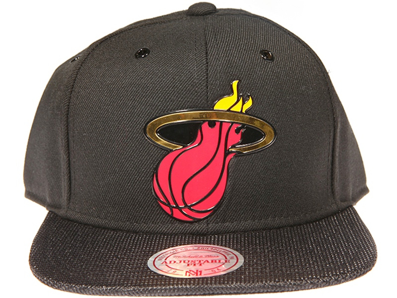 new style bad31 7f5d7 ... czech miami heat gloss gold logo woven brim mitchell ness nba black snapback  hat 46847 6e057