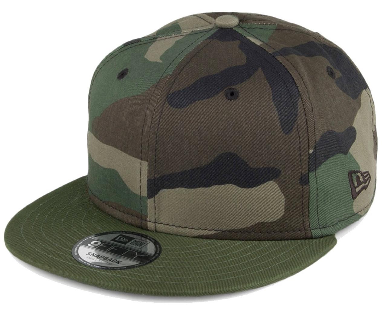 Plain Blank Camo New Era 9fifty Snapback Hat With
