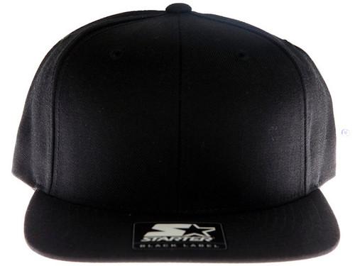 Starter Plain Blank Black Snapback Hat