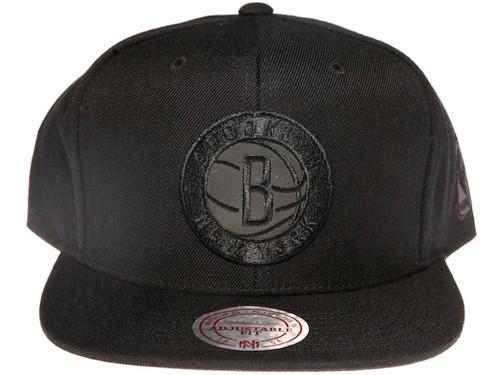 free shipping 48076 e7da3 Brooklyn Nets NBA Black Reflective Logo Mitchell   Ness Black Snapback Hat