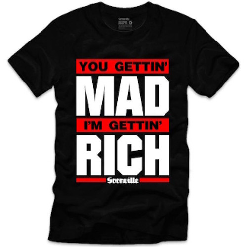 Goonville Mad Rich Red and White Logo Black T-Shirt