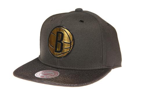 various colors f4311 c0c99 ... Snapback Hat · Brooklyn Nets Gloss Gold Logo Woven Brim Mitchell   Ness  NBA Black Snapback ...