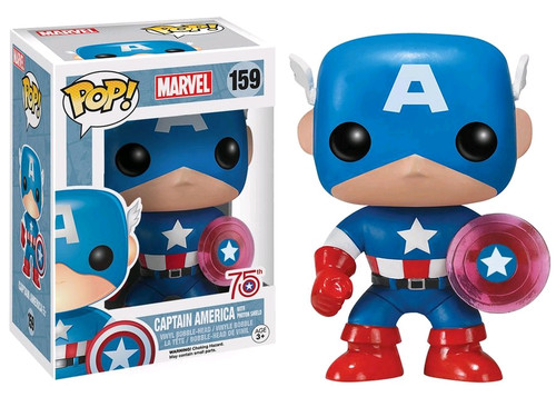75th Anniversary Captain America with Photon Shield Exclusive Pop Marvel Vinyl Figure